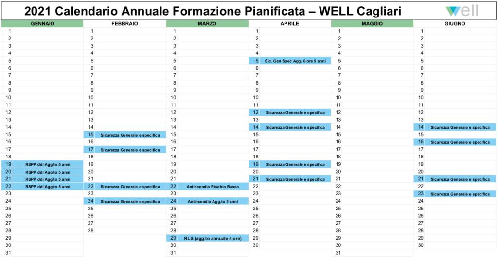 calendario corsi formazione pianificata Well Cagliari 1 semestre 2021
