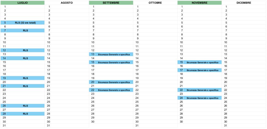 calendario corsi formazione pianificata Well Cagliari 2 semestre 2021